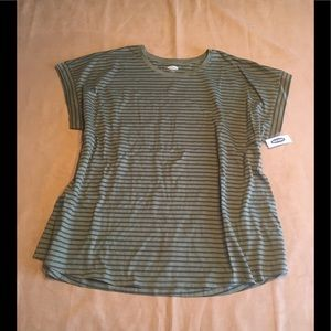 Olive stripe relaxed dolman sleeve striped tee New